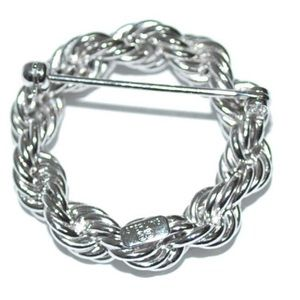 Jewelry - Braided 925 sterling silver brooch pin 3oz rope